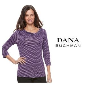 Dana Buchman 3/4 Sleeve Draped neck Top Purple M